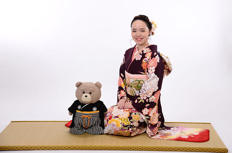 成人式振袖前撮り撮影会【茶、緑カラーの古典柄】