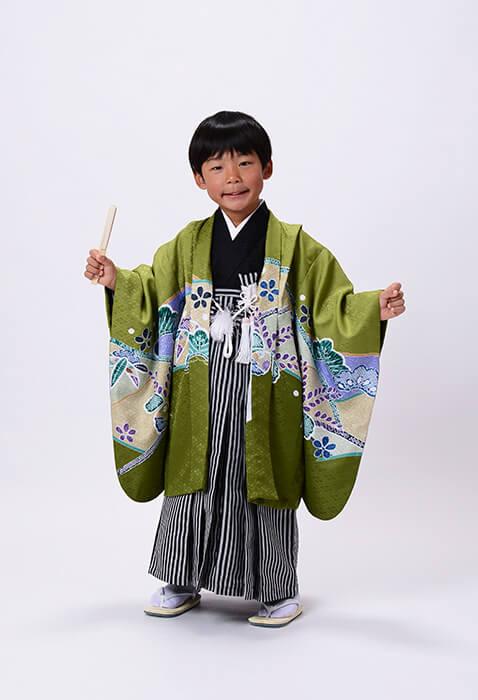 七五三【5歳着物&写真撮影】グリーンのオシャレ着物♪