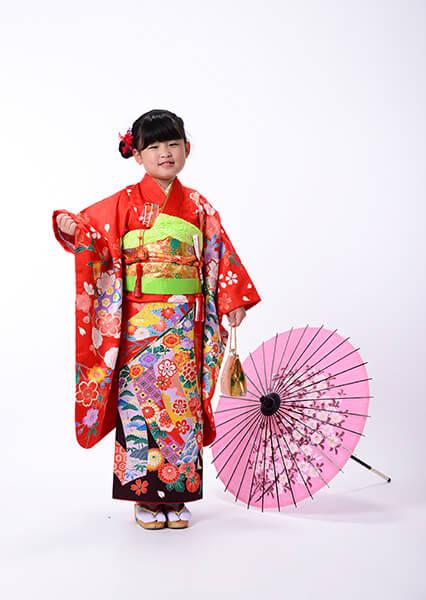 七五三衣装&写真撮影【7歳赤着物 3歳ピンク着物】