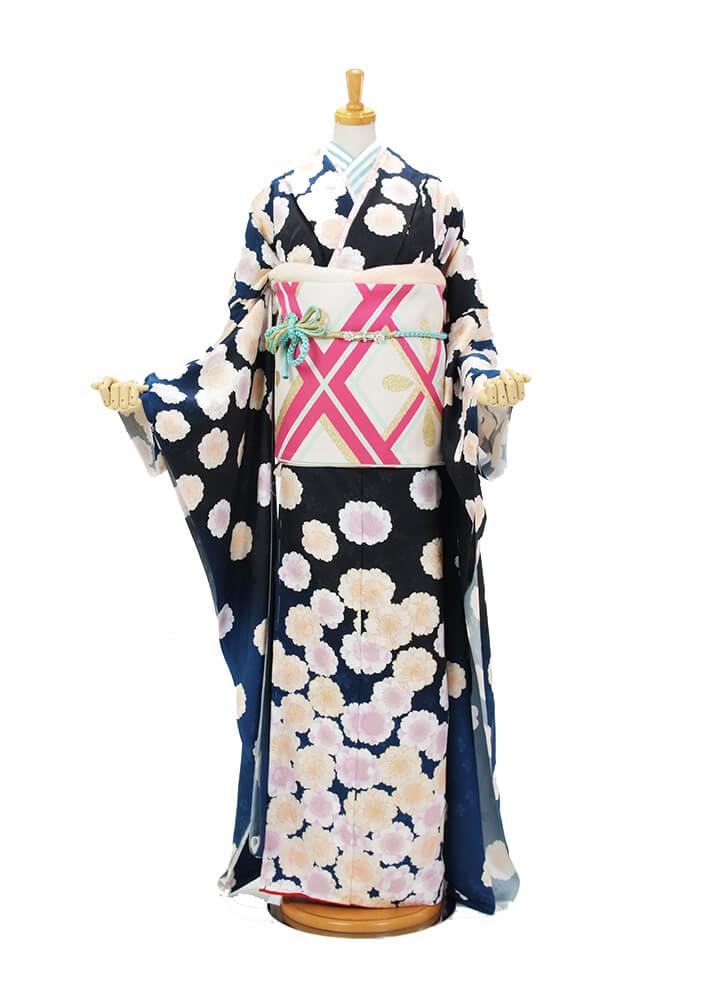 新作振袖【紺色、桜柄】人気の小紋模様